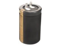 黑色电容器电解闪光 免版税库存图片