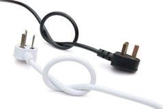 黑色电缆白色 库存照片