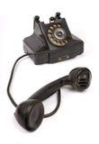 黑色电话抓葡萄酒 免版税库存照片