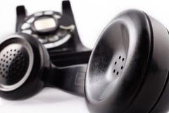 黑色电话转台式葡萄酒 库存图片