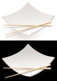 黑色的盘子寿司白色 库存照片