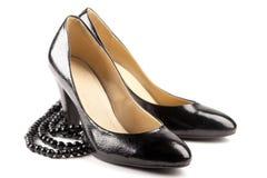 黑色皮革专利鞋子 图库摄影