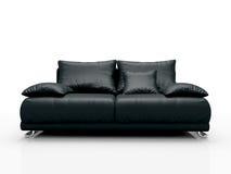 黑色皮革沙发 免版税库存照片