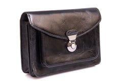 黑色皮革男性袋子 免版税库存图片