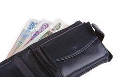 黑色皮革老钱包 免版税库存图片
