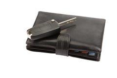 黑色皮革钱包和关键字 免版税库存照片