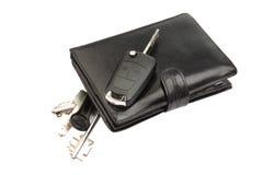 黑色皮革钱包和关键字 库存图片