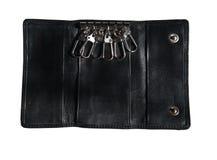 黑色盒锁上皮革 免版税库存图片