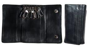 黑色盒锁上皮革 免版税库存照片