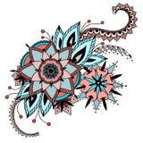 黑色看板卡空白色的花卉花的虹膜 与抽象花的手拉的艺术品 网的,打印装置设计背景 Mehendi无刺指甲花纹身花刺乱画样式 向量例证