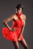 黑色礼服时装模特儿红色性感的短小 免版税库存照片