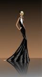 黑色礼服的夫人 免版税库存照片
