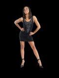 黑色礼服短小妇女年轻人 免版税库存照片