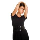 黑色礼服精妙的妇女 免版税库存照片