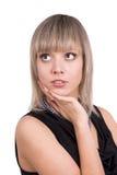 黑色礼服纵向常设妇女 免版税库存照片
