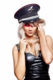 黑色礼服纵向肉欲的佩带的妇女 图库摄影