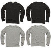 黑色空白灰色长的衬衣袖子 免版税库存照片