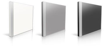 黑色空白盒CD的灰色白色 库存照片