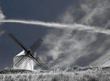 黑色空白风车 库存照片