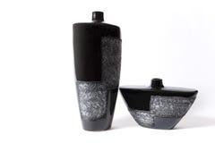 黑色空的花现代花瓶 免版税库存图片