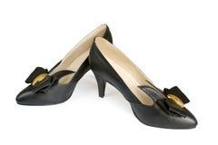黑色穿上鞋子妇女 库存图片