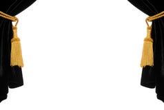 黑色窗帘天鹅绒 免版税库存照片