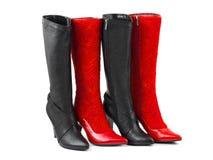 黑色红色穿上鞋子妇女 库存图片