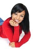黑色纵向微笑的妇女年轻人 库存照片