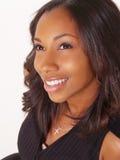 黑色纵向微笑的妇女年轻人 免版税库存照片