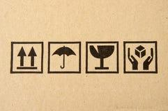 黑色纸板脆弱的符号 图库摄影
