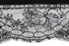 黑色细致的花卉鞋带纹理 免版税库存照片