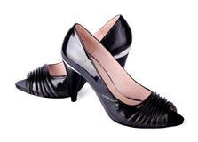 黑色经典被停顿的高s穿上鞋子妇女 免版税库存照片