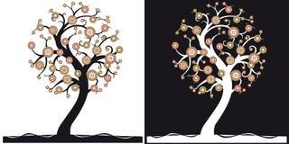 黑色结构树白色 免版税库存照片