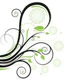 黑色绿色漩涡 库存例证