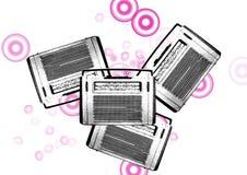 黑色老收音机减速火箭的葡萄酒白色 免版税库存照片