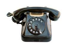 黑色老电话 免版税库存照片