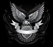 黑色老鹰白色飞过了 库存照片
