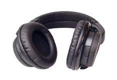黑色耳机 免版税库存图片