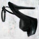 黑色脚跟高被绘的纹理 免版税库存图片