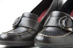 黑色脚跟高鞋子 免版税图库摄影