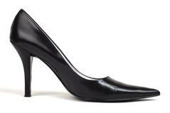 黑色脚跟高s鞋子妇女 库存图片
