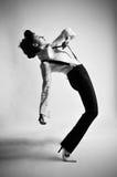 黑色舞蹈演员白色 免版税库存图片