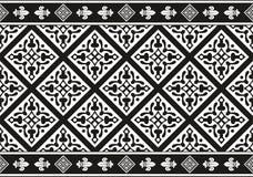 黑色花卉哥特式无缝的纹理白色 免版税库存图片
