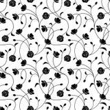 黑色花卉模式无缝的白色 也corel凹道例证向量 皇族释放例证