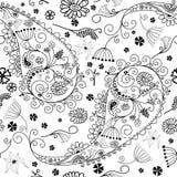 黑色花卉模式无缝的白色 库存照片