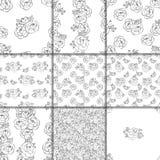 黑色花卉模式无缝的白色 库存例证