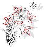 黑色花卉模式红色 免版税库存照片