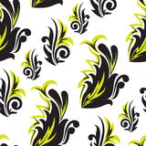 黑色花卉绿色无缝 库存图片