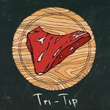 黑色董事会白垩 在一个圆的木切板的多数普遍的牛排 牛肉裁减 肉店或牛排餐厅的Restau肉指南 免版税库存图片