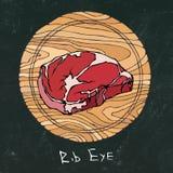 黑色董事会白垩 在一个圆的木切板的多数普遍的牛排 牛肉裁减 肉店或牛排餐厅的Restau肉指南 库存照片
